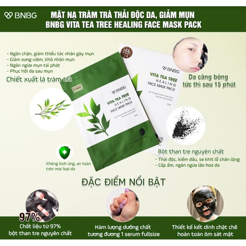 Mặt Nạ BNBG Tràm Trà Vita Tea Tree Healing Face Mask Pack 30ml