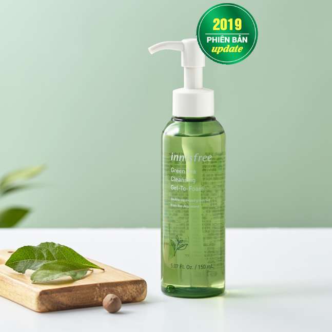 gel rửa mặt green tea cleansing gel to foam innisfree