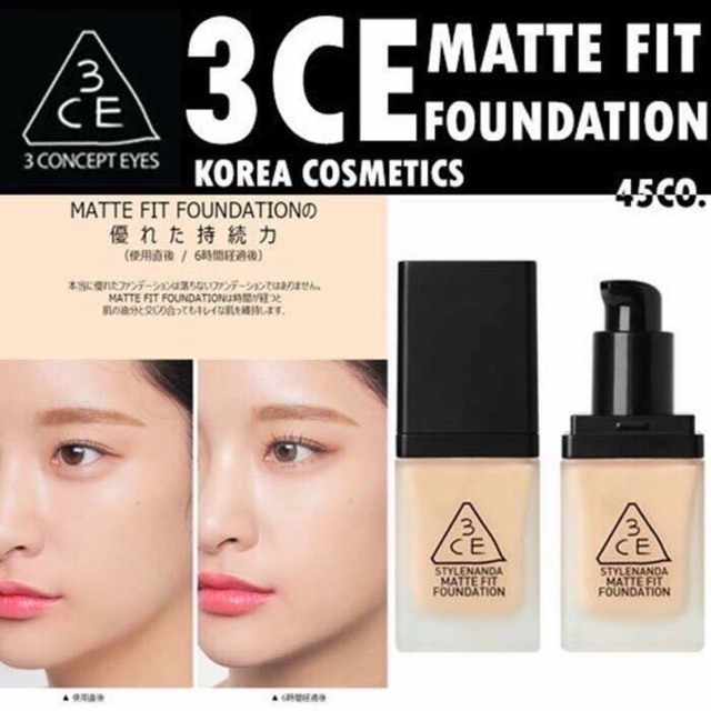 kem nền 3ce stylenanda matte fit foundation 35g