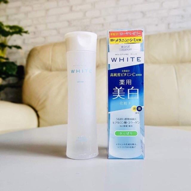 Nước hoa hồng dưỡng trắng da Kose Moisture Mild White Lotion 180ml