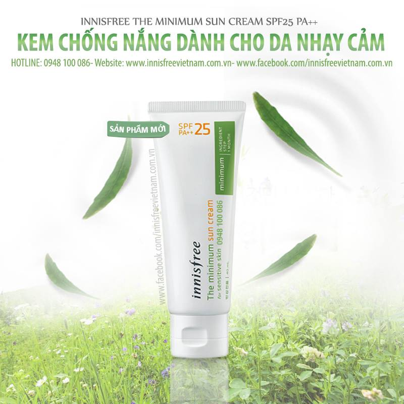 kem chống nắng innisfree the minimun Sun Cream PA ++ spf25 40ml