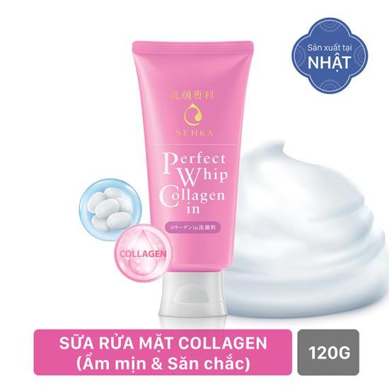 Sữa rửa mặt Shiseido Senka Perfect Whip Collagen in 120g (hồng hàng nội địa Nhật)