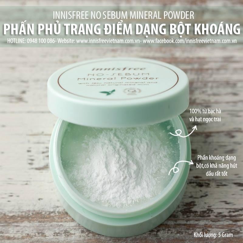Phấn phủ dạng bột kiềm dầu Innisfree no sebum mineral powder