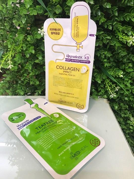 mặt nạ mediheal collagen  (  màu vàng) , tràm trà ( màu xanh lá )