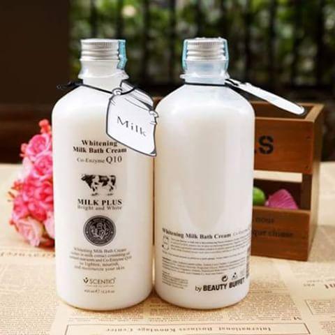Sữa Tắm Beauty Buffet Scentio Milk Plus Whitening Q10 Bath Cream 450ml