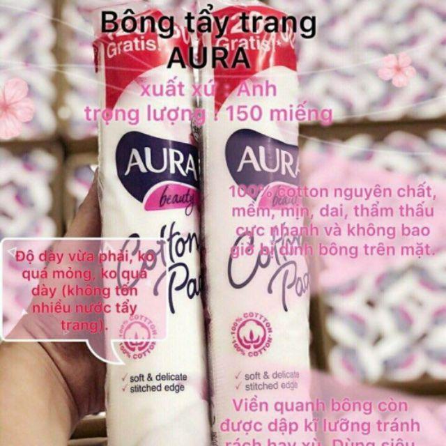 Bông tẩy trang cotton Aura (Anh) 150 miếng