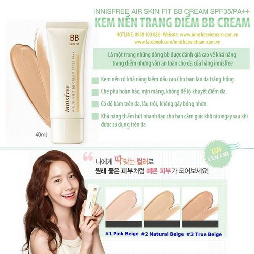 Kem nền Innisfree Air Skin Fit BB Cream SPF35 PA++
