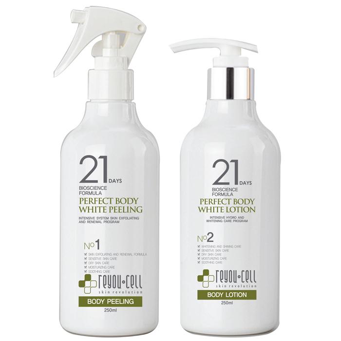 Bộ đôi siêu dưỡng trắng toàn thân Reyou-Cell 21 Days Bioscience Formula Perfect Body White Peeling & Lotion