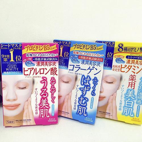 Mặt Nạ Dưỡng Da Kose Clear Turn White Mask (5 miếng) Nhật