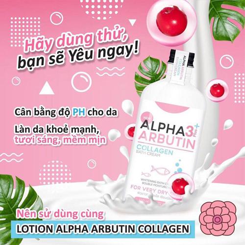 Sữa Tắm Dưỡng Trắng Da Alpha Arbutin 3+ Plus Collagen Bath Cream 450ml