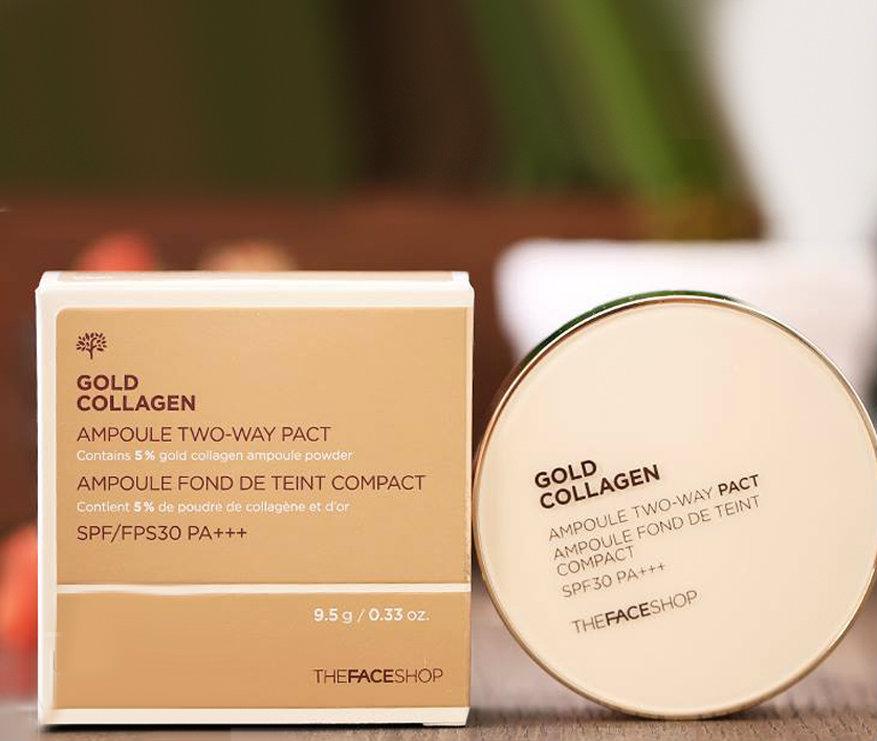 phấn tươi THE FACE SHOP GOLD COLLAGEN AMPOULE COVER CAKE SPF50+ PA+++