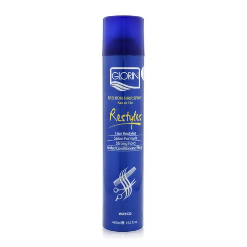 keo xịt tóc Glorin restyle fashion hair spray 420ml ( xanh cứng)