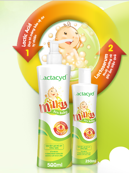 tắm gội lactacyd milky for baby 500ml