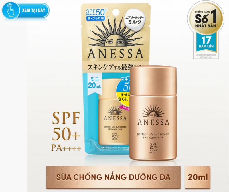 Sữa Chống Nắng Anessa SPF50+/PA++++ 20ml Perfect UV Sunscreen Skincare Milk (dịu nhẹ có thể dùng cho baby)